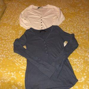 2 cotton henley shirts